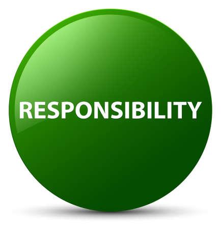 Verantwoordelijkheid op groene ronde knoop abstracte illustratie die wordt geïsoleerd
