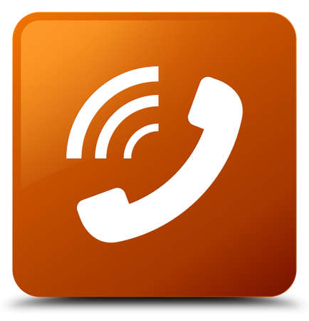 Phone ringing icon isolated on brown square button abstract illustration