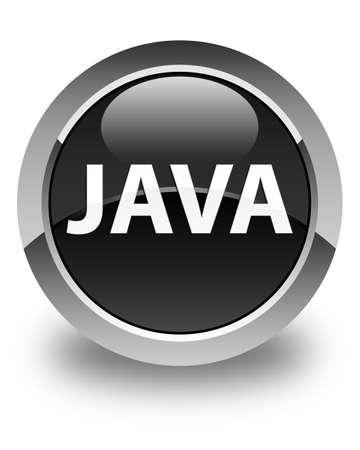光沢のある黒い丸いボタンの抽象的なイラストに分離された Java