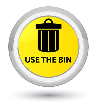 Use the bin (trash icon) isolated on prime yellow round button abstract illustration