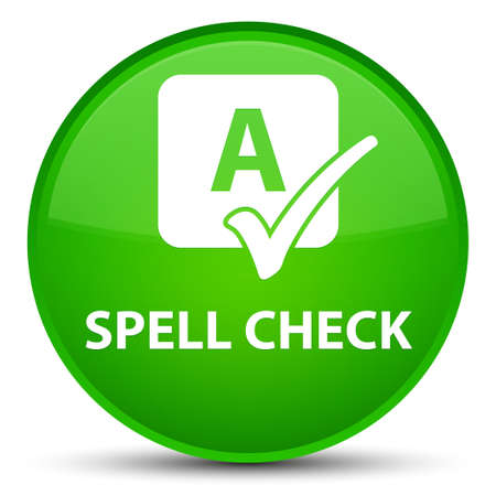 Spell check isolated on special green round button abstract illustration