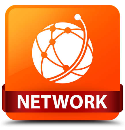 Network (global network icon) isolated on orange square button with red ribbon in middle abstract illustration