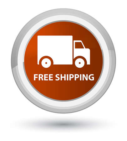 Free shipping isolated on prime brown round button abstract illustration
