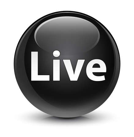 Live isolated on glassy black round button abstract illustration