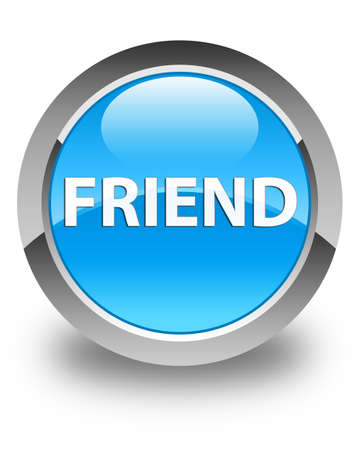 Friend isolated on glossy cyan blue round button abstract illustration Reklamní fotografie