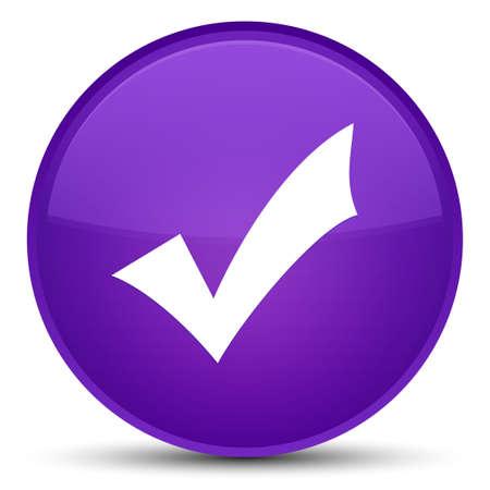 Icône de validation isolé sur illustration abstraite bouton rond violet spécial