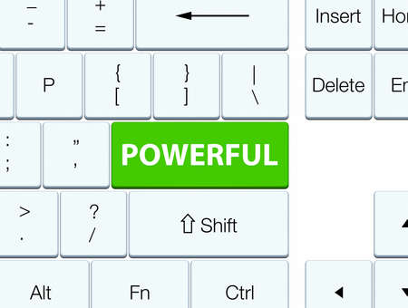 Powerful isolated on soft green keyboard button abstract illustration