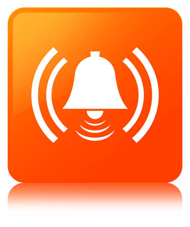 Alarm icon isolated on orange square button reflected abstract illustration