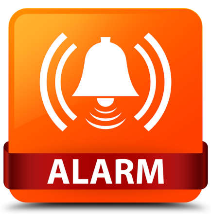 Alarm (bell icon) isolated on orange square button with red ribbon in middle abstract illustration