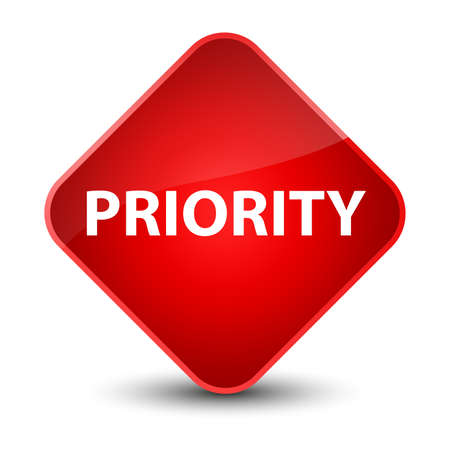 Priority isolated on elegant red diamond button abstract illustration