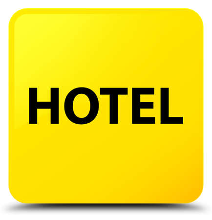 Hotel isolated on yellow square button abstract illustration