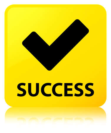 Success (validate icon) isolated on yellow square button reflected abstract illustration Stock Photo