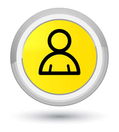 Member icon isolated on prime yellow round button abstract illustration Stock Photo