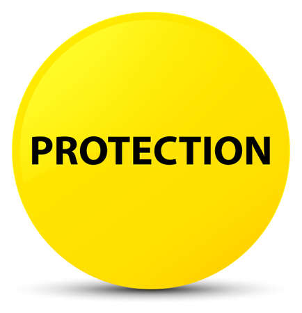Protection isolated on yellow round button abstract illustration Stock Photo