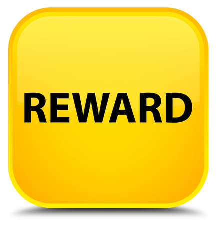 Reward isolated on special yellow square button abstract illustration