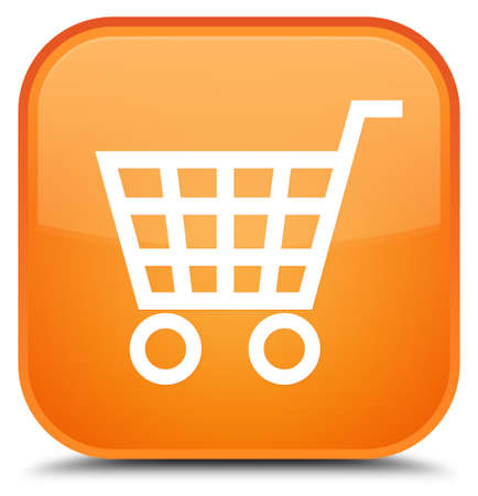 Ecommerce icon isolated on special orange square button abstract illustration