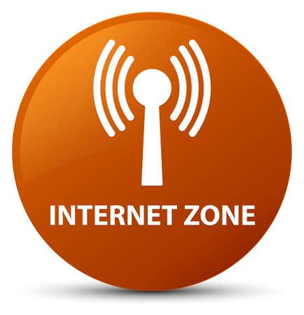 Zone Internet (réseau WLAN) isolé sur illustration abstraite du bouton rond brun Banque d'images - 89857389