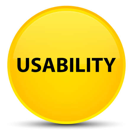 Usability isolated on special yellow round button abstract illustration