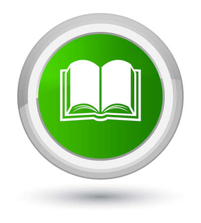 Book icon isolated on prime green round button abstract illustration