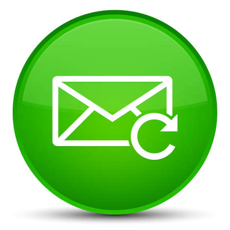 Refresh email icon isolated on special green round button abstract illustration