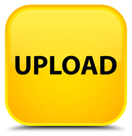 Upload isolated on special yellow square button abstract illustration Stock Photo