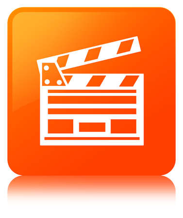 Cinema clip icon isolated on orange square button reflected abstract illustration