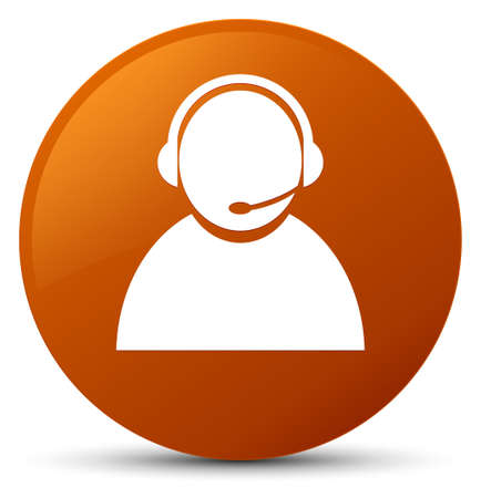 representative: Customer care icon isolated on brown round button abstract illustration Stock Photo