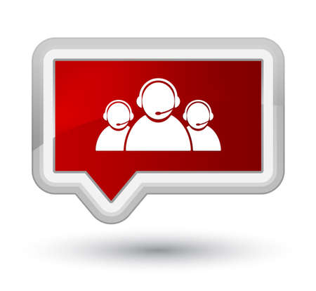prime: Customer care team icon isolated on prime red banner button abstract illustration