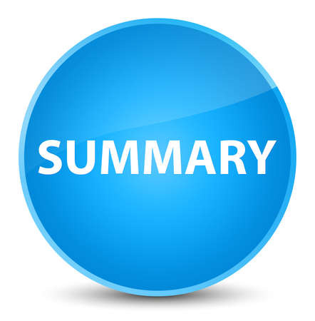 Summary isolated on elegant cyan blue round button abstract illustration