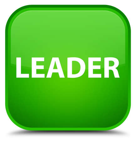 Leader isolated on special green square button abstract illustration