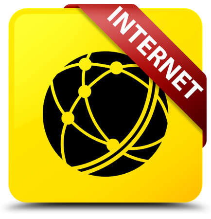 Internet (global network icon) isolated on yellow square button with red ribbon in corner abstract illustration