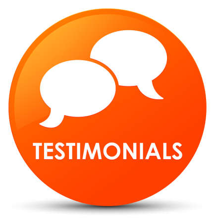 Testimonials (chat icon) isolated on orange round button abstract illustration