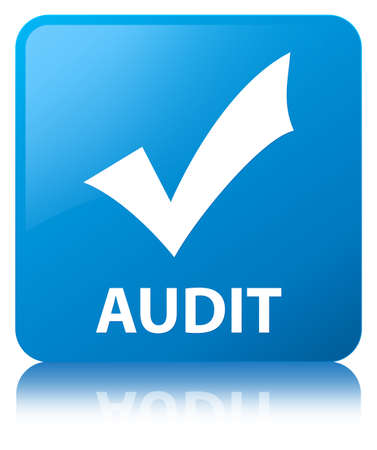 Audit (validate icon) isolated on cyan blue square button reflected abstract illustration Stock Photo