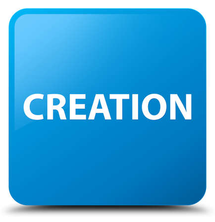 Creation isolated on cyan blue square button abstract illustration