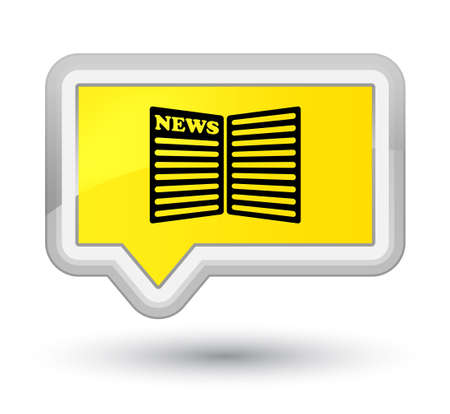 Newspaper icon isolated on prime yellow banner button abstract illustration Stock Photo