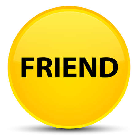 pals: Friend isolated on special yellow round button abstract illustration Stock Photo