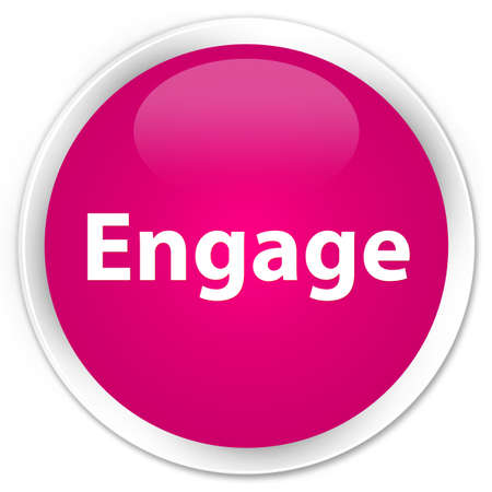 Engage isolated on premium pink round button abstract illustration Banco de Imagens - 89818471