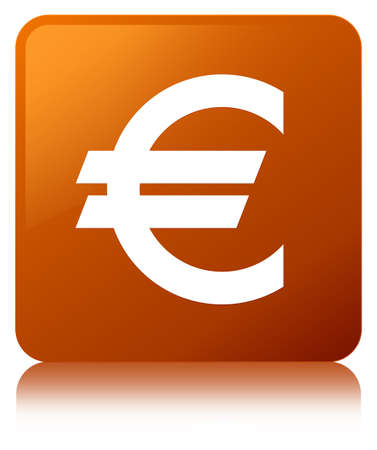Euro sign icon isolated on brown square button reflected abstract illustration