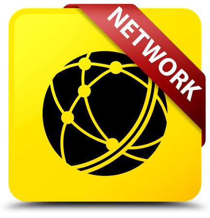Network (global network icon) isolated on yellow square button with red ribbon in corner abstract illustration