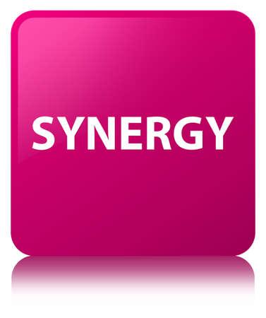 De synergisme op roze vierkante knoop wordt geïsoleerd wees op abstracte illustratie die