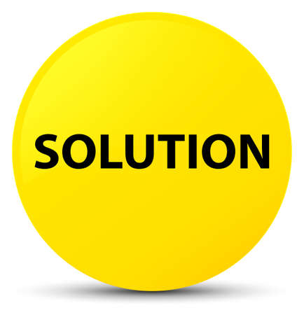 Solution isolated on yellow round button abstract illustration Stock Photo