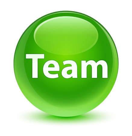 troupe: Team isolated on glassy green round button abstract illustration Stock Photo