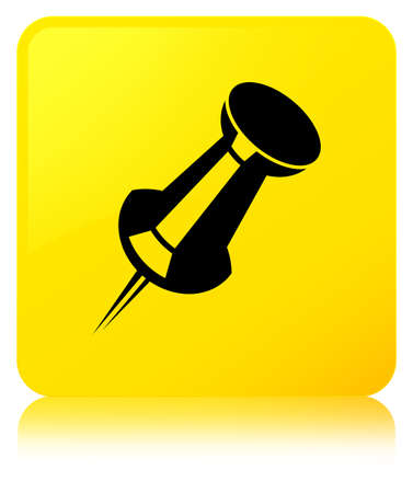 Push pin icon isolated on yellow square button reflected abstract illustration