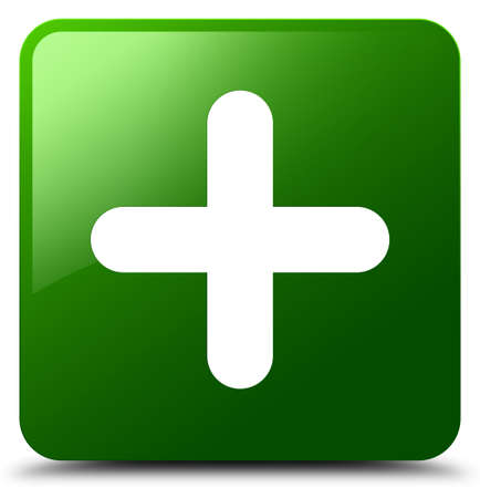 Plus icon isolated on green square button abstract illustration Banque d'images