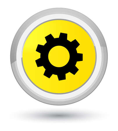 Process icon isolated on prime yellow round button abstract illustration
