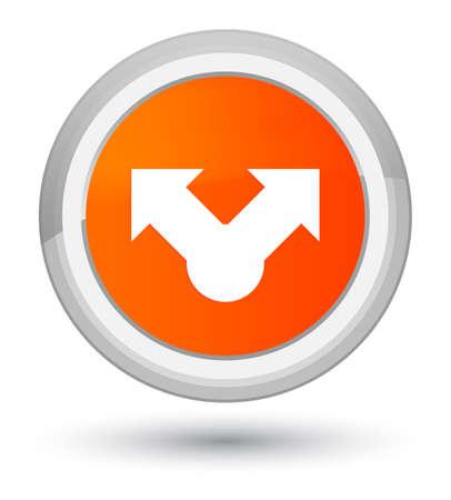 プライムのオレンジ色の丸いボタンの抽象的なイラストに分離された共有アイコン 写真素材