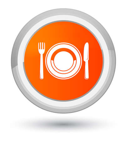 prime: Food plate icon isolated on prime orange round button abstract illustration