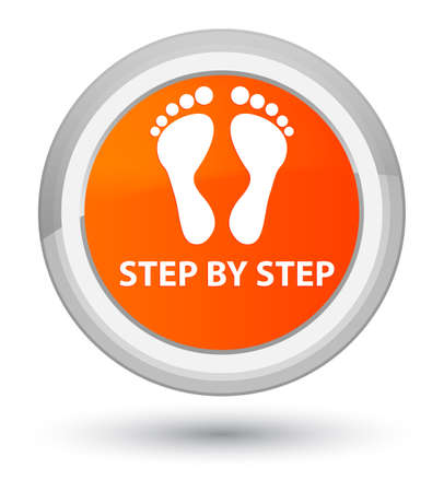 Step by step (footprint icon) isolated on prime orange round button abstract illustration Stock Photo