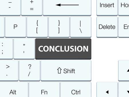 Conclusie op de zwarte abstracte illustratie die van de toetsenbordknoop wordt geïsoleerd