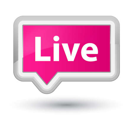 Live isolated on prime pink banner button abstract illustration Banco de Imagens